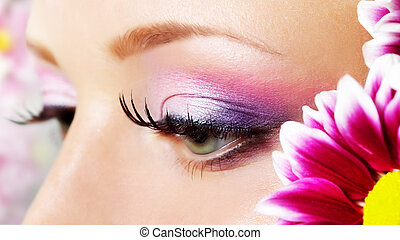 Eye closeup with makeup. - Make-up of a beautiful woman eye