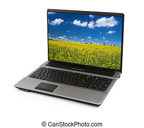 notebook with canola field