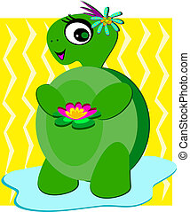 Cute Turtle with Flowers and a Smil