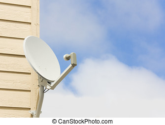 Residential dish antenna - Home satellite antenna mounted on...