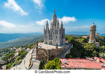 birdview on church - Bird view on Tibidabo church on...