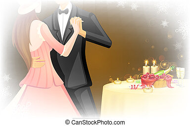 Candle Light Date - illustration of romantic couple doing...