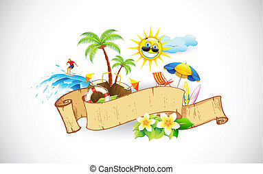 Tropical Banner - illustration of retro ribbon with sea...
