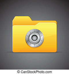 Privacy - illustration of locked folder with combination...
