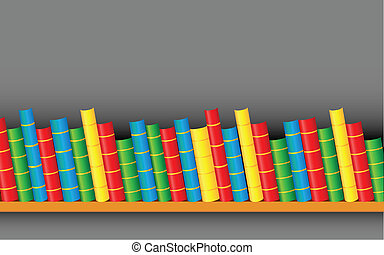 Books on Shelf - illustration of row of colorful books on...