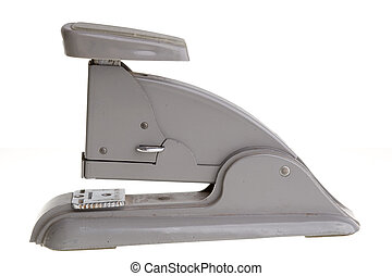 Vintage grey stapler, side view. - Side view of an old...
