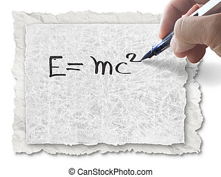 hand drawing E=mc2 on paper