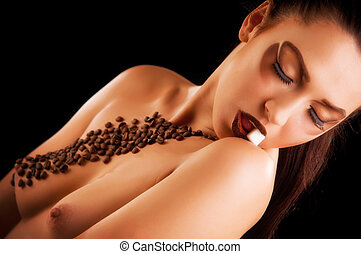 Sexy young woman with coffee beans and sugar - Sexy young...
