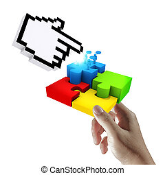 cursor pointing at completing the puzzle - hand holds cursor...