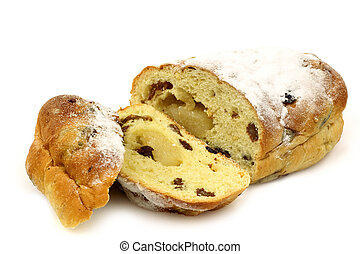 sliced easter bread roll - freshly baked and sliced easter...