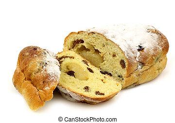 sliced easter bread roll - freshly baked and sliced easter...