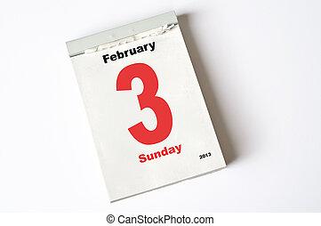 3. February 2013 - calendar sheet