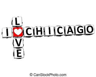 3D I Love Chicago Crossword on white background
