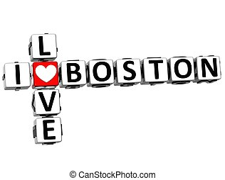3D I Love Boston Crossword on white background