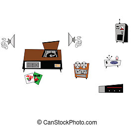retro electronics clipart - assorted retro elements of...