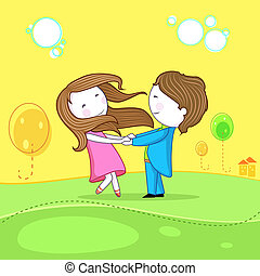 Dancing Couple - illustration of dancing couple celebrating...