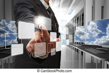cloud network concept - business man hand point to virtual...