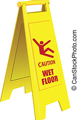 Caution Wet Floor - Folding a signal of a slippery field in...