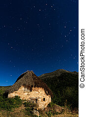 A cottage on the mountain - Night shot of a cottage on the...