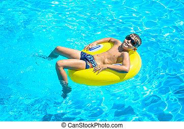 niño, inflable, círculo, piscina, Flotar