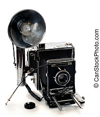 Vintage Camera - Large format 4x5 camera with flash