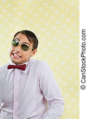 Geek Making Funny Face - Portrait of funny male geek making...