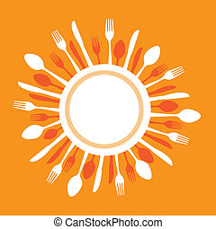 cutlery - dish with cutlery over orange background vector...