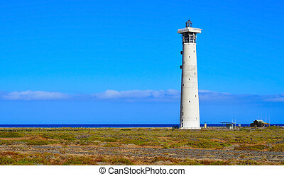 Beacon of Morro Jable in Fuerteventura, Canary Islands,...