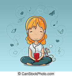 Girl with smartphone - Little girl and mouse listening to...