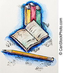 Education school concept with books and pencil, watercolor...