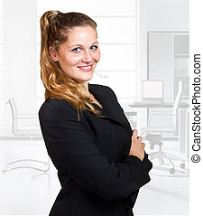 woman in business wear - Young blond woman in business wear...