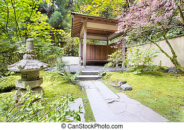 Japanese Garden Tea House with Stone Lantern
