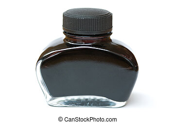 fountain pen ink bottle with white background