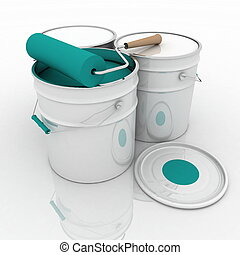 bucket with blue paint and roller - open bucket with blue...