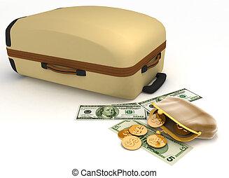 スーツケース, 開いた, 財布, お金