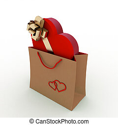 box as heart in bag for gift - box as heart form with a gold...