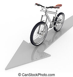 pointer of motion of bicycle - 3d pointer of direction of...