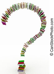 concept book formed question mark - 3d illustration concept...