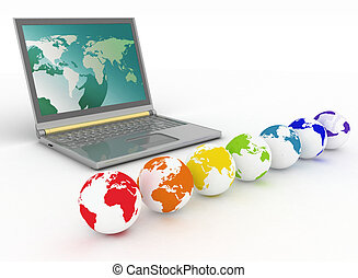 laptop and globes of all colors