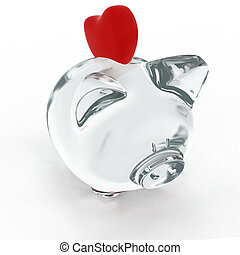 Piggy bank with heart