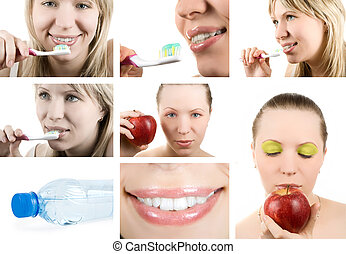 Dental health. - Beautiful woman and healthy teeth. Dental...