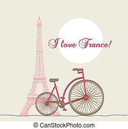 i love france - i lover france text with tower eiffel and...
