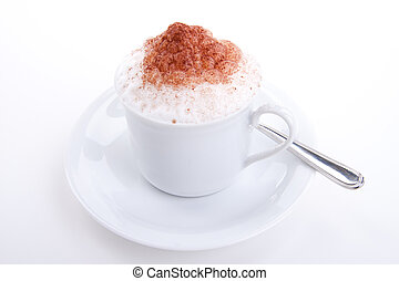 fresh capuccino with chocolate and milk foam isolated on...