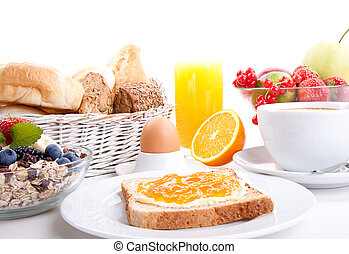 breakfast table with toast and orange marmelade isolated on...