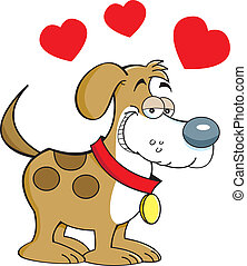 Puppy Love - Cartoon illustration of a puppy in love