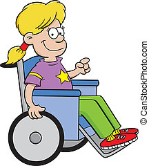 Girl in a wheelchair - Cartoon illustration of a girl in a...