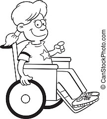 Girl in a wheelchair - Black and white illustration of a...