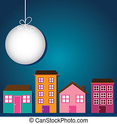 cute buildings with moon over night background vector...