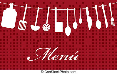 menu vector - menu with elements kitchen over red background...