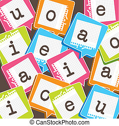 cute background with vowels over paper vector illustration